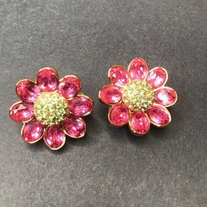 Vintage Swarovski Large Pink Flower CLIP Earrings